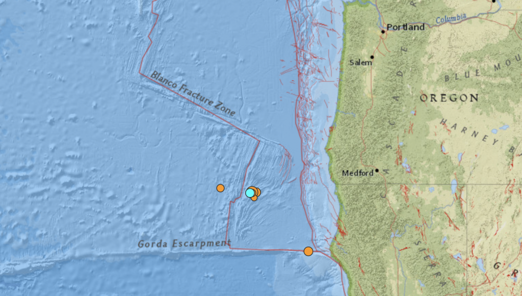 Locations of the July 24-25, 2018 earthquake swarm off the coast of Oregon and California. USGS.
