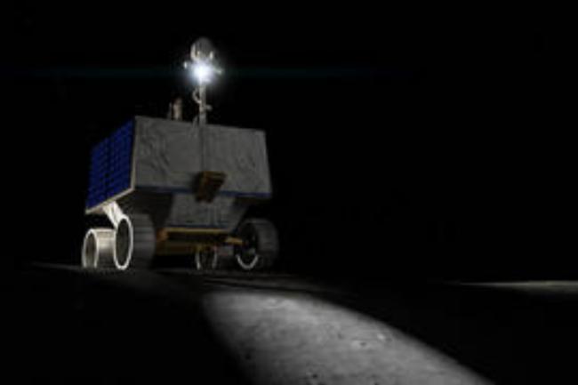 An artist illustration of NASA's Volatiles Investigating Polar Exploration Rover, or VIPER. (Credit: NASA Ames/Daniel Rutter)