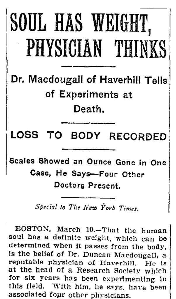 NY Times 1907 Soul Has Weight - Wikimedia Commons