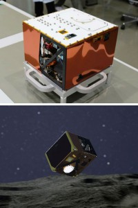 MASCOT on Earth (top), and as it might appear now on Ryugu. (Credit: DLR)
