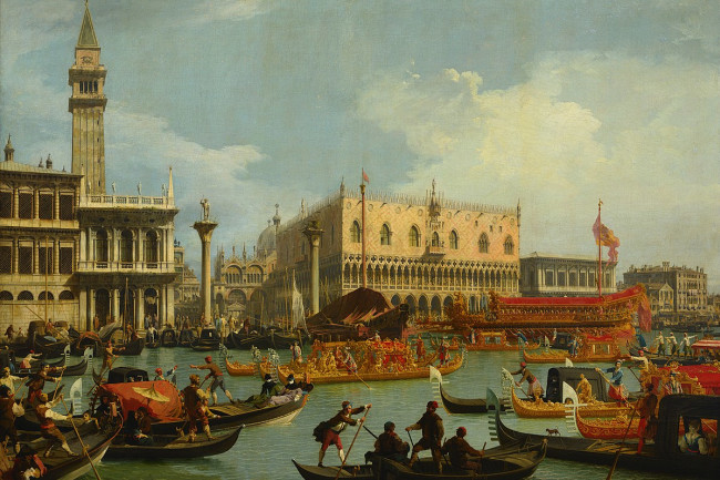 1200px-Canaletto - Bucentaur's return to the pier by the Palazzo Ducale - Google Art Project