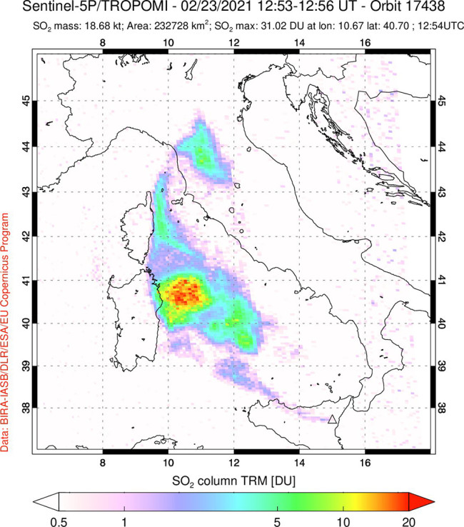 The sulfur dioxide plume produced by Etna in mid-February 2021.