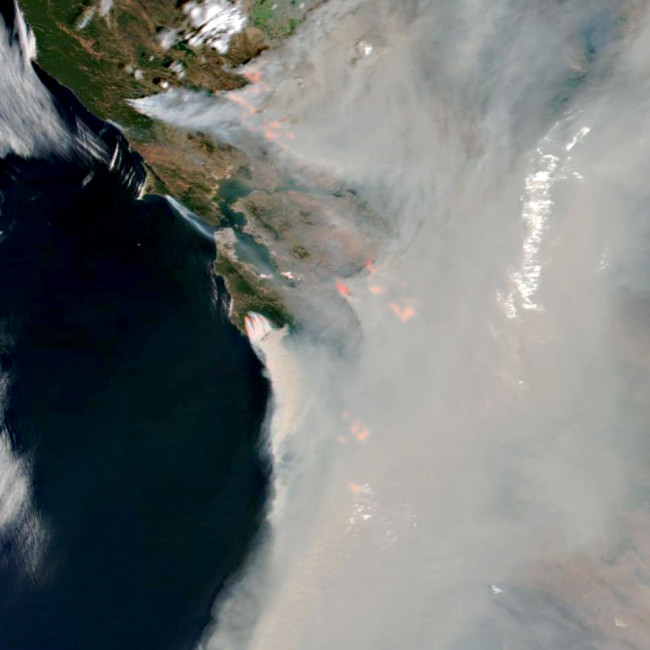 California Wildfires Seen From Space on Aug. 19, 2020