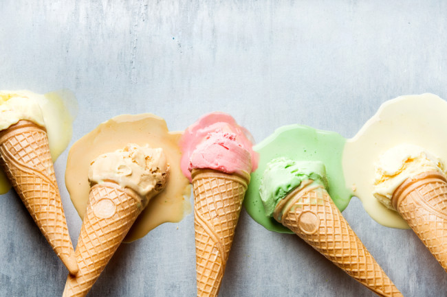 Ice Cream Cones Melting - Shutterstock
