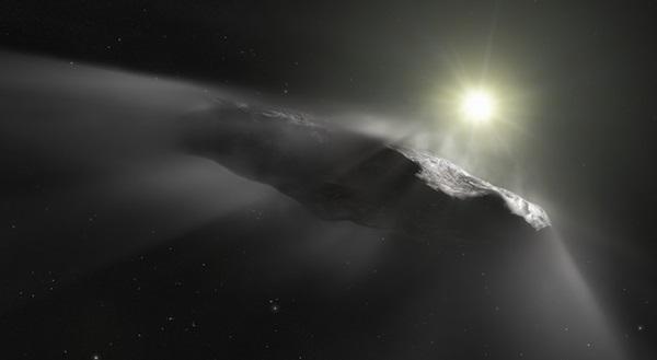 'Oumuamua ventilación de gas y polvo