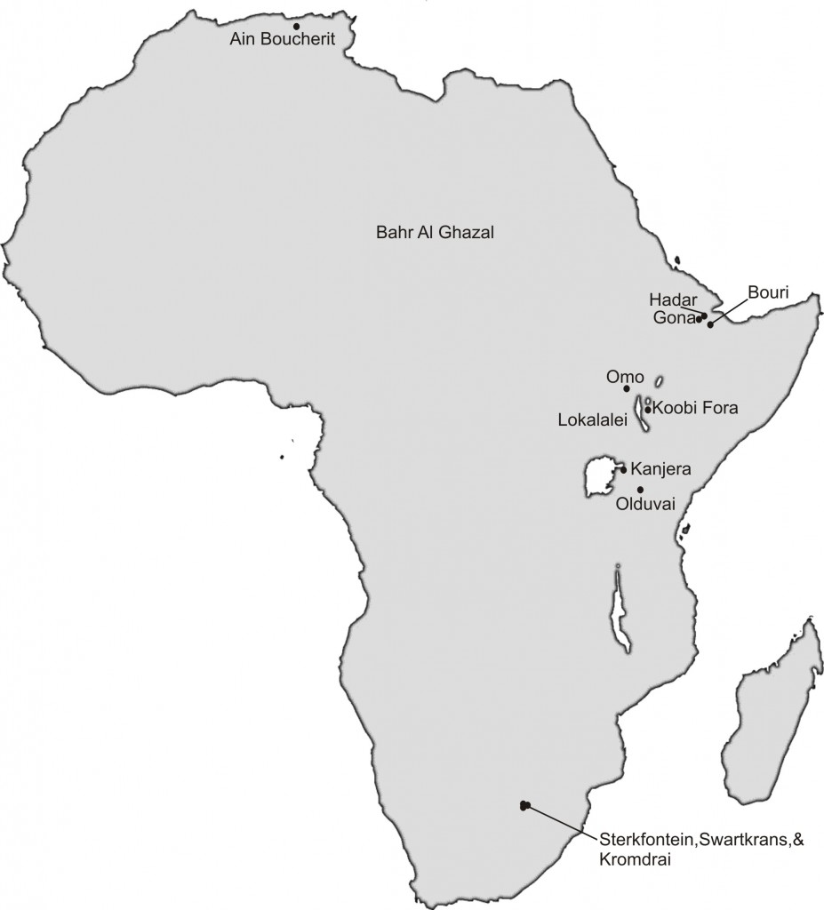 A map of Africa showing Ain Boucherit (within Ain Hanech study area) and other major sites in Africa with Oldowan and hominin fossils. [Credit: M. Sahnouni]