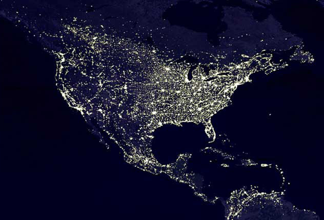 Image of the U.S. at night, with cities lit - NASA