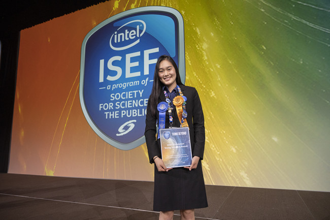 Allison Jia at ISEF - Society for Science & the Public