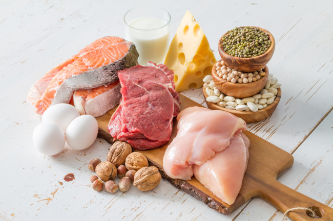 Sources of Protein, Meat Eggs Nuts Cheese - Shutterstock