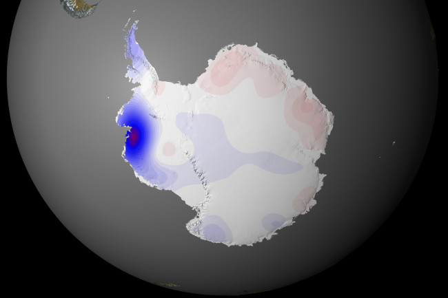 West Antarctica is rapidly melting, while some parts of East Antarctica have seen increased snowfall. (Credit: NASA/Goddard Space Flight Center Scientific Visualization Studio)