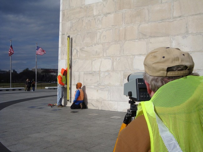 Leveling at the Washington Monument. NOAA.