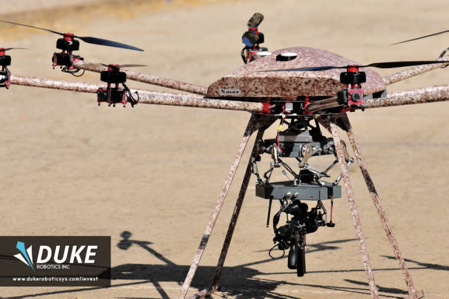 The TIKAD drone was developed by Israeli military veterans who wanted a flying sniper drone that could support troops on the ground. Credit: Duke Robotics