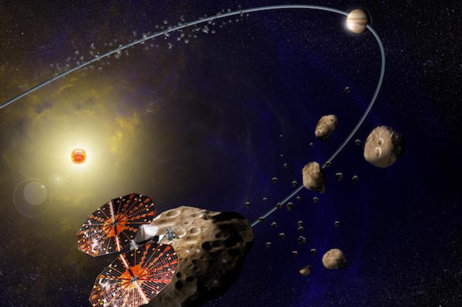 An illustration of NASA's Lucy spacecraft. (Credit: SwRI)