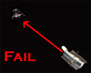 Hubble and the Lunar Module: nope