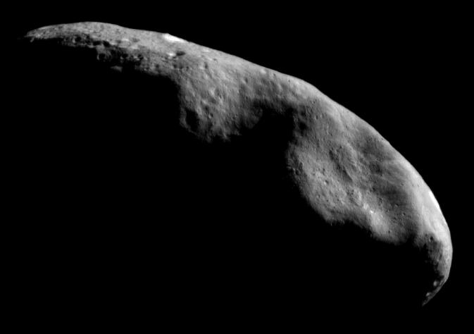 NASA studied the asteroid Eros up close more than a decade ago. Asteroids could supply the needed resources to build orbiting communities. (Credit: NASA)