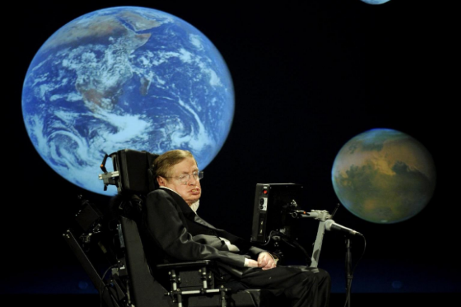 "In 2008, Stephen Hawking delivered a lecture on ""why we should go into space"" in honor of NASA's 50th anniversary. (Credit: NASA:Paul. E. Alers)"