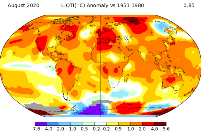 Global Temperature Anomalies in August of 2020 - NASA