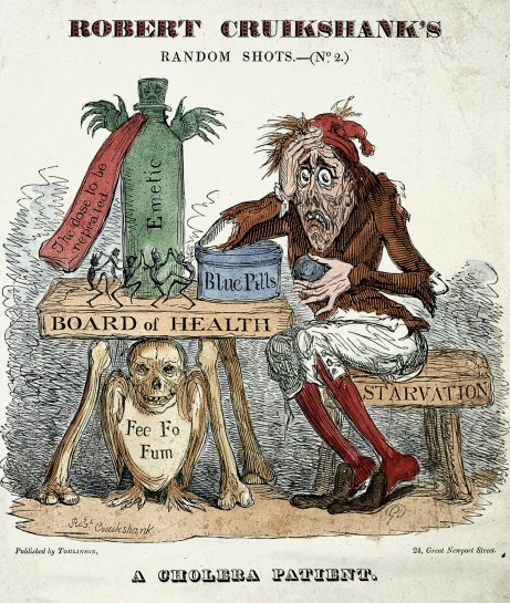 "An 1832 etching by Robert Cruikshank, ""A Cholera Patient,"" displaying assorted remedies and their attendant anxieties. IV therapy is excluded. Image: Robert Cruikshank. Source: Wellcome Collection. Click for source."