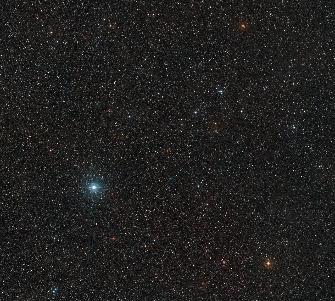 This image shows the surroundings of Barnard's Star. This star was discovered to host a frozen super-Earth exoplanet. (Credit: ESO/Digitized Sky Survey 2 Acknowledgement: Davide De Martin E — Red Dots)