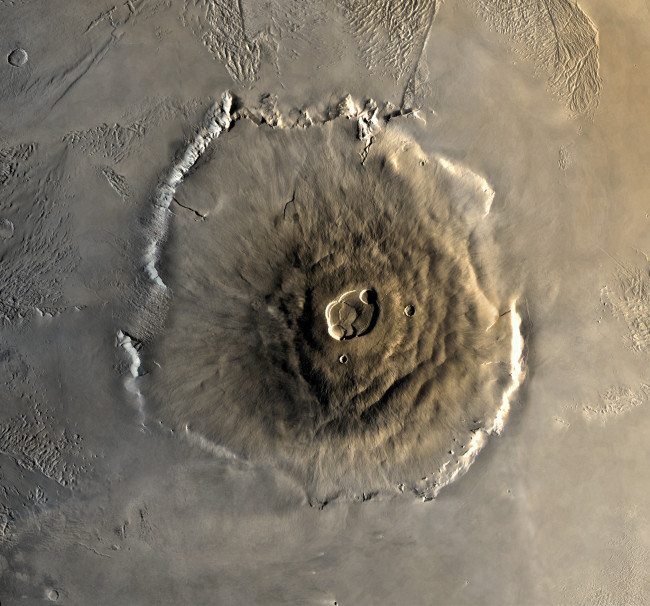 Olympus Mons -- the largest volcano on Mars (Source: NASA)