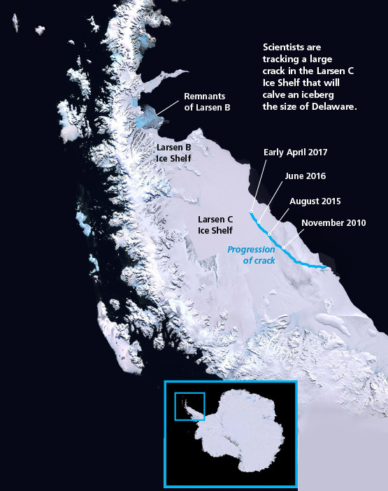 Map of Larsen C crack Antarctica - NASA