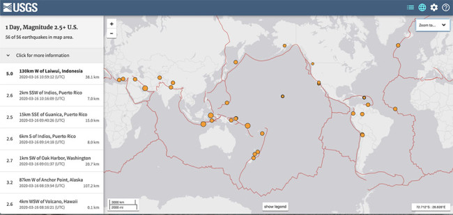 USGS Earthquakes map