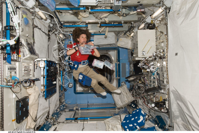 Cady Coleman wired up for a space-medicine experiment aboard the International Space Station during Expedition 26 in 2011. (Credit: NASA)
