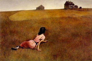 Christina's World (1948) by Andrew Wyeth. Click for source. To visit MOMA's page on the artwork, click here.