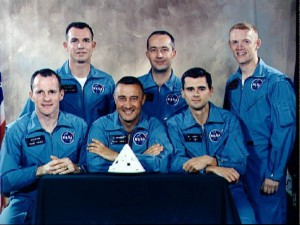 The Apollo 1 prime and backup crews. Front: White, Grissom, and Chaffee. Back: Young, McDivitt, Schweikart. NASA