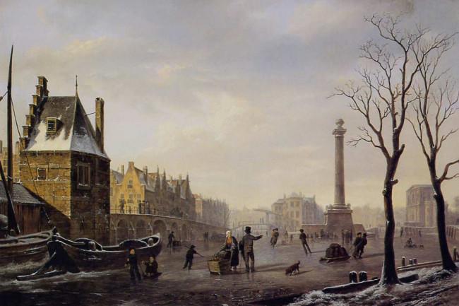 Bartholomeus Johannes van Hove Pompenburg met Hofpoort in de winter-1024x701