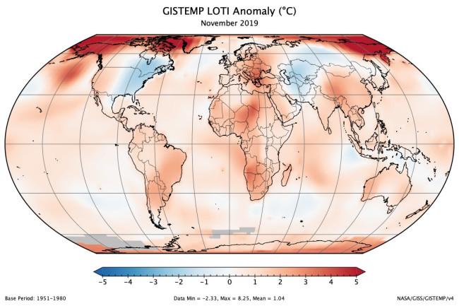 Temperature Anomalies for November 2019