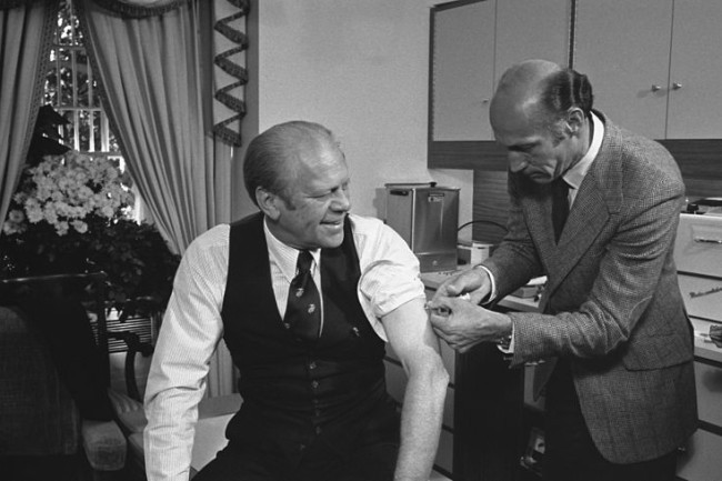 President Ford receives a swine flu inoculation - Gerald R. Ford Presidential Library and Museum