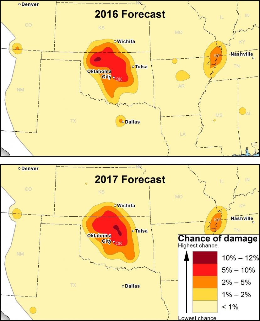 USGS damage forecasts for earthquakes in Oklahoma in 2016 and 2017 edit-828x1024