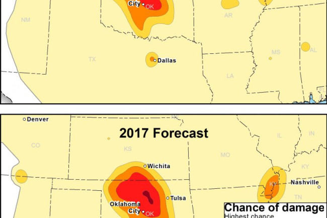 Earthquie Damage Forecasts Oklahoma in 2016 and 2017 - USGS