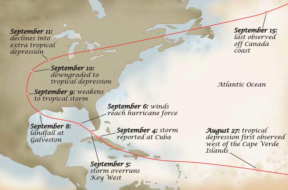 map of path of galveston hurricane 1900 texas