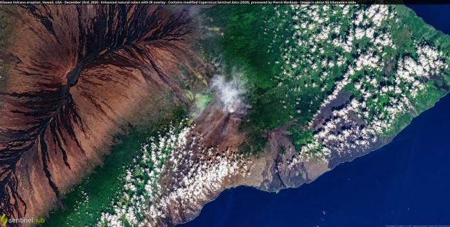False Color Satellite View of Kilauea Eruption