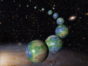 many earths stretching into space