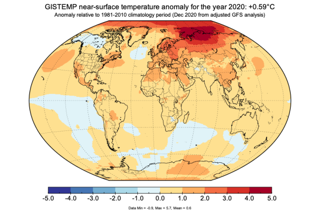 Projected Temperature Anomalies for 2020