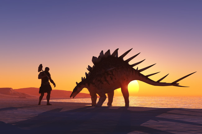 humans and dinosaurs - shutterstock
