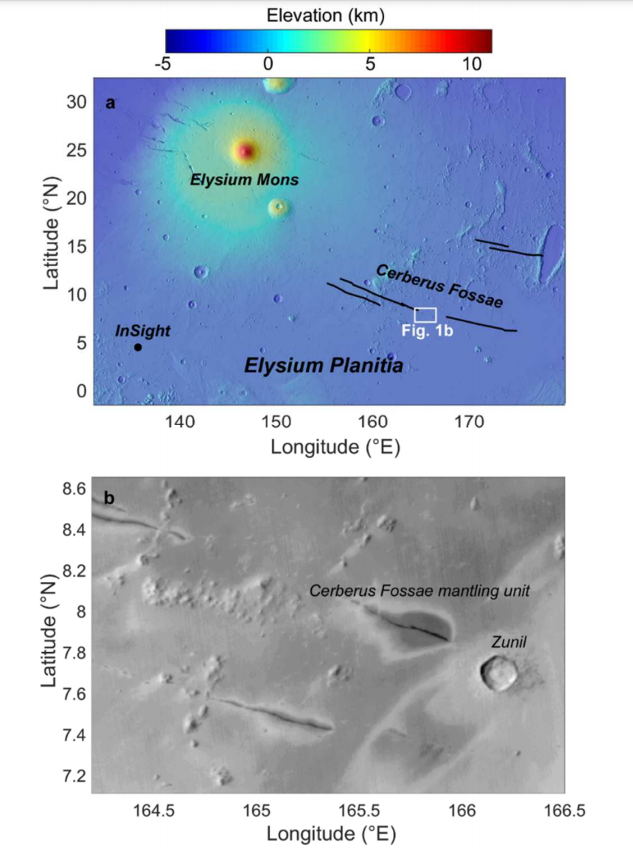 The Cerberus Fossae region is 1700 kilometres from NASA's InSight lander (Source: arxiv/abs/2011.05956)