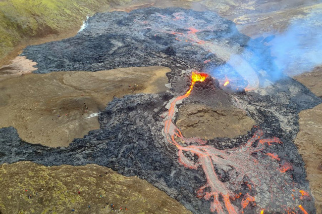 The new eruption at Geldingadalur in Iceland.