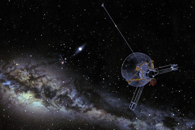 This artist's concept shows Pioneer venturing out into interstellar space. Both Pioneer 10 and 11 carry a plaque bearing a message from Earth. (Credit: NASA)