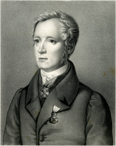 A black and white painted portrait of 19th century anthropologist Friedrich Tiedemann.