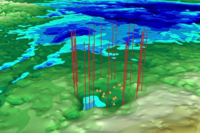 Elevation map of Greenland, with elevated crater rim (red lines) and central uplift peaks (orange triangles) noted.