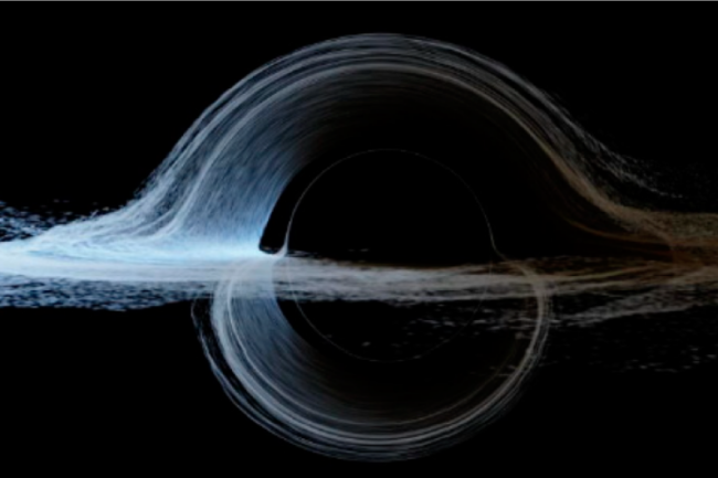 A more realistic simulation of the black hole featured in the movie Interstellar. (Credit: James et al./IOP Science)