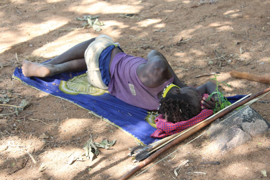 You snooze, you lose? Au contraire...A Hadza man napping now will likely be awake when other members of his community are fast asleep, maintaining a varied range of chronotypes that was once essential for survival. (Credit David Samson)
