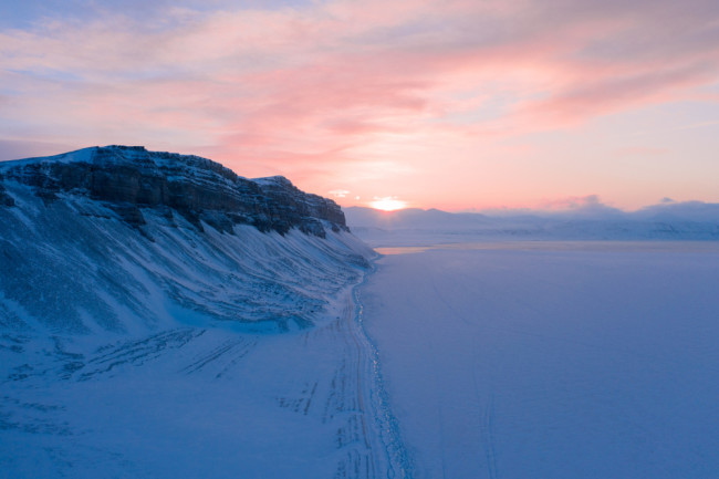 Arctic Snow Sunrise Sunset - Shutterstock