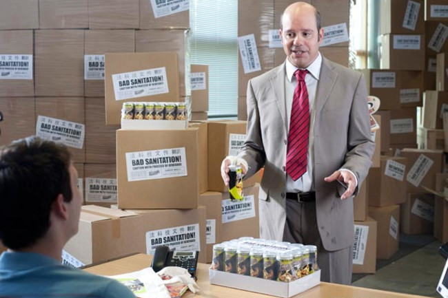 """In the first season of the IFC television series, """"The Increasingly Poor Decisions of Todd Margaret,"""" the main character, Todd Margaret, needs sell an obnoxious inventory of Thunder Muscle. (Credit: AMC Networks)"""
