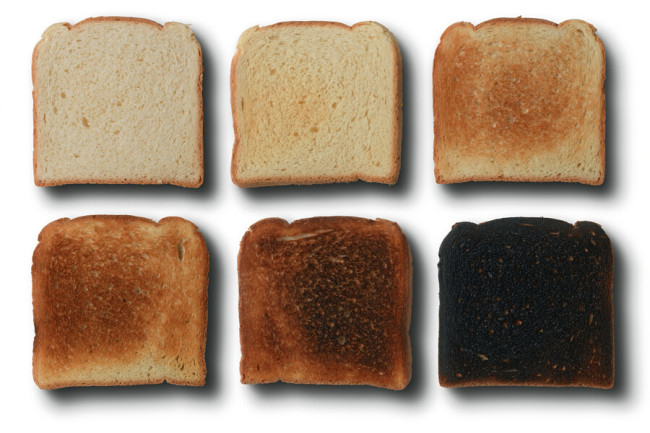 Acrylamide forms when bread is toasted and the amino acid asparagine reacts with sugars at high heat. CREDIT: MILOS LUZANIN / SHUTTERSTOCK