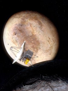 An artist's impression shows the never-completed Pluto Fast Flyby mission visiting Pluto and Charon. (Credit: Pat Rawlings/NASA)